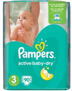 Pieluchy Pampers Active Baby Dry  3 MIDI 90 SZT